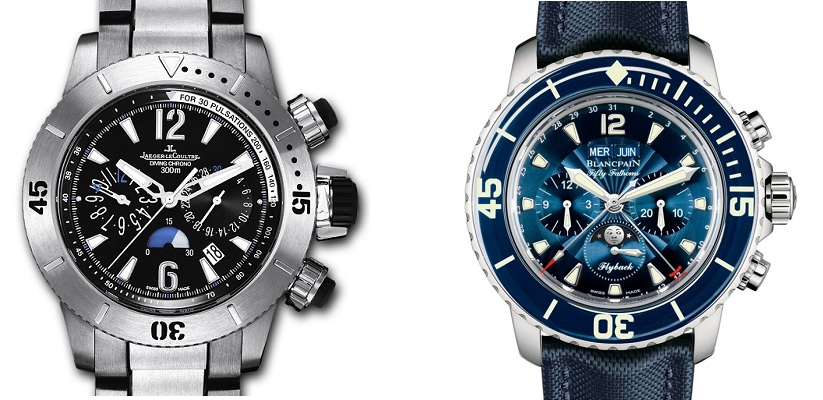Clash Of The Chronos: Jaeger-LeCoultre Master Compressor Diving Chronograph Watch vs Blancpain Fifty Fathoms Chronographe Flyback Quantimème Complet Watch